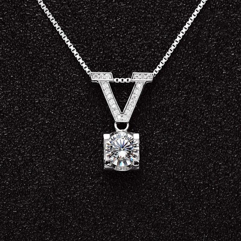 BOEYCJR Love 925 Plata 1ct/2ct/3ct F color Moissanite VVS compromiso boda colgante collar para mujer aniversario regalo