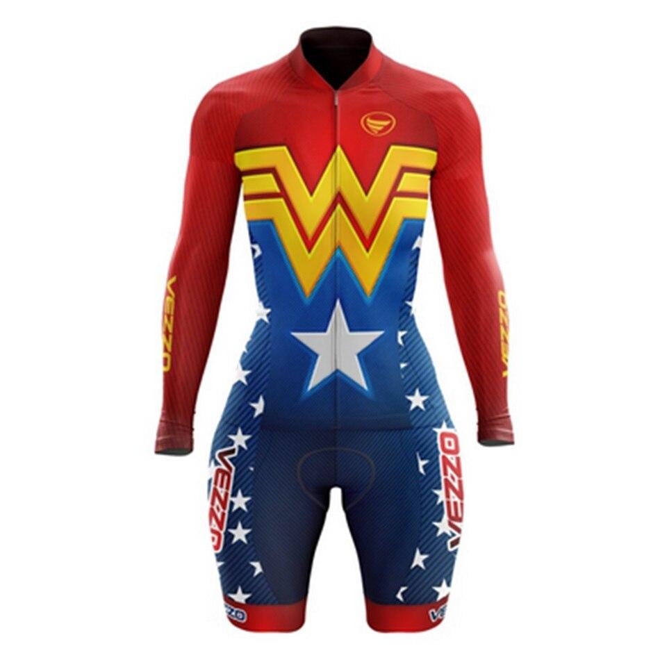 VEZZO-jersey de manga larga y pantalones cortos de babero para mujer, ropa...