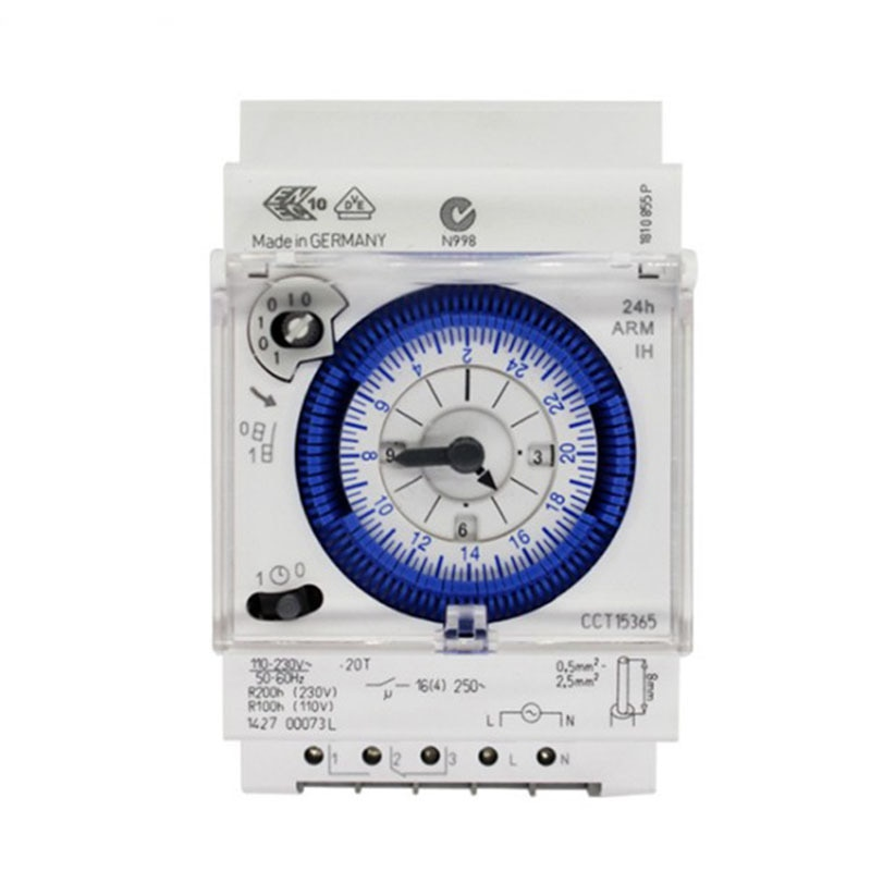 Interruptor temporizador de carril DIN mecánico con reserva de energía SUL181d con segmento de 3 módulos 24 horas analógico UL 181d