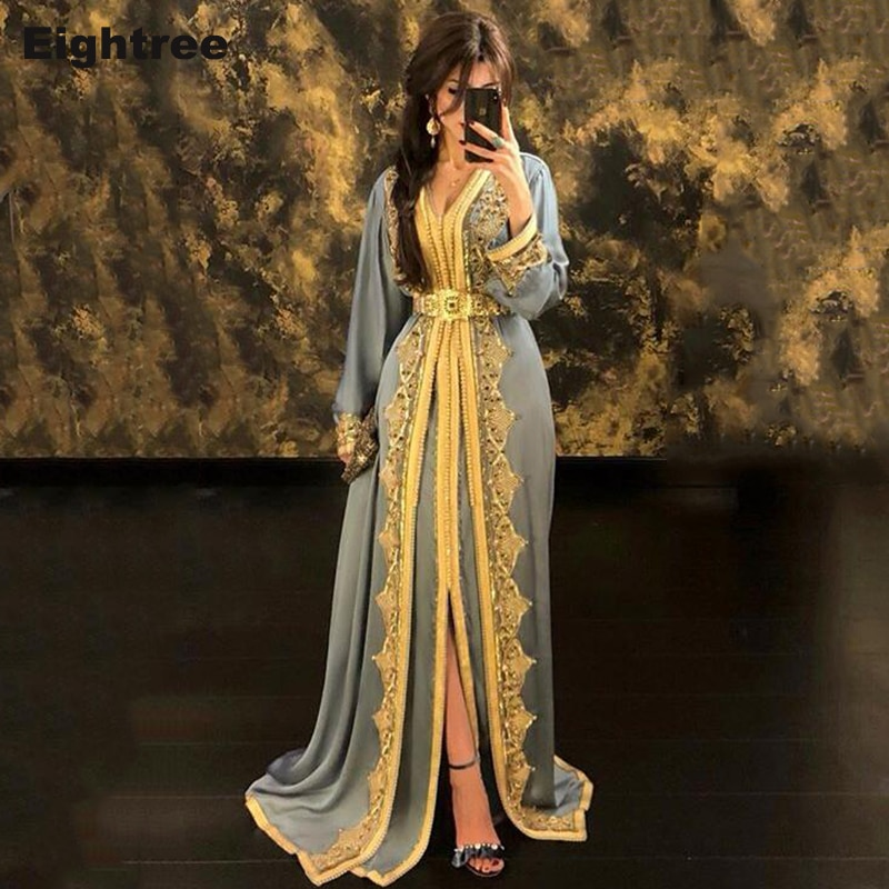 slive sequin formal dresses evening gown elegant long evening dresses evening dress arabic special occasion dresses es2062 Eightree Hunter Moroccan Kaftan Evening Dresses Lace Appliques Arabic Muslim Special Occasion Dresses Custom Formal Prom Dress