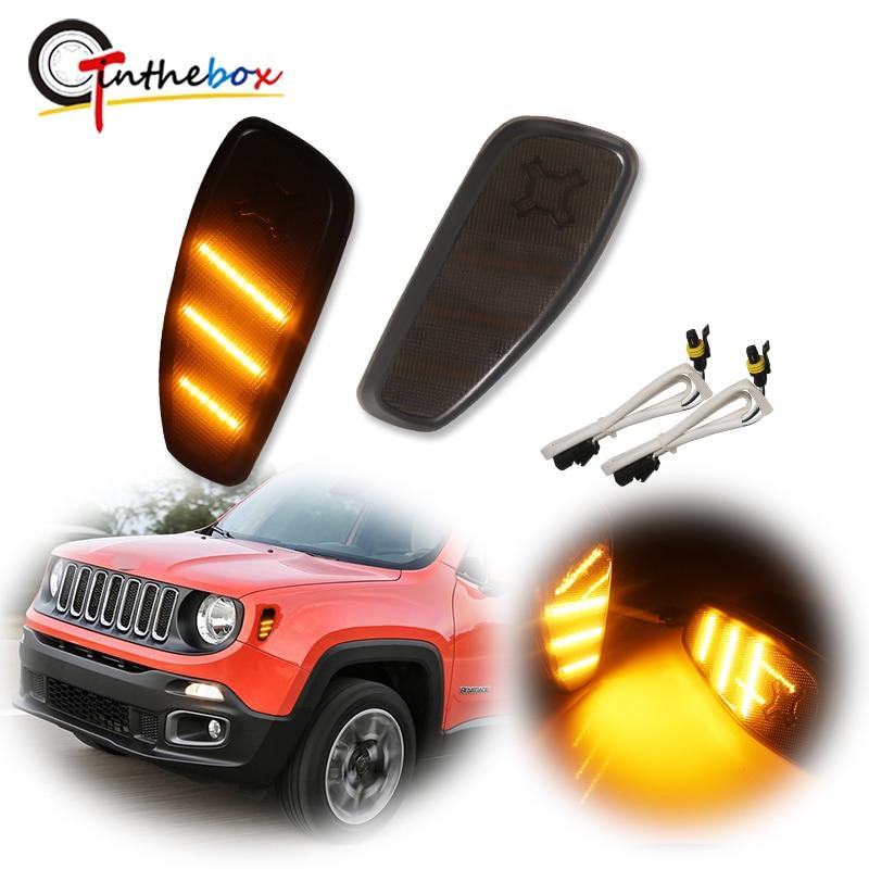 Gtinthebox المدخن عدسة العنبر الأصفر LED الحاجز مصابيح العلامات الجانبية بدوره أضواء الإشارة تحويل عدة ل 2015-up Jeep Renegade