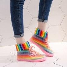 Frauen Regenbogen Regen Stiefel Damen Mode Transparent Winter Wasserdichte Ankle Boot Weibliche LaceUp PVC Rain Casual Wasser Schuhe