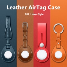M3C luxurious Shockproof Protective Case For Apple AirTag Leather Hangable Key Ring Luggage Tag Bag