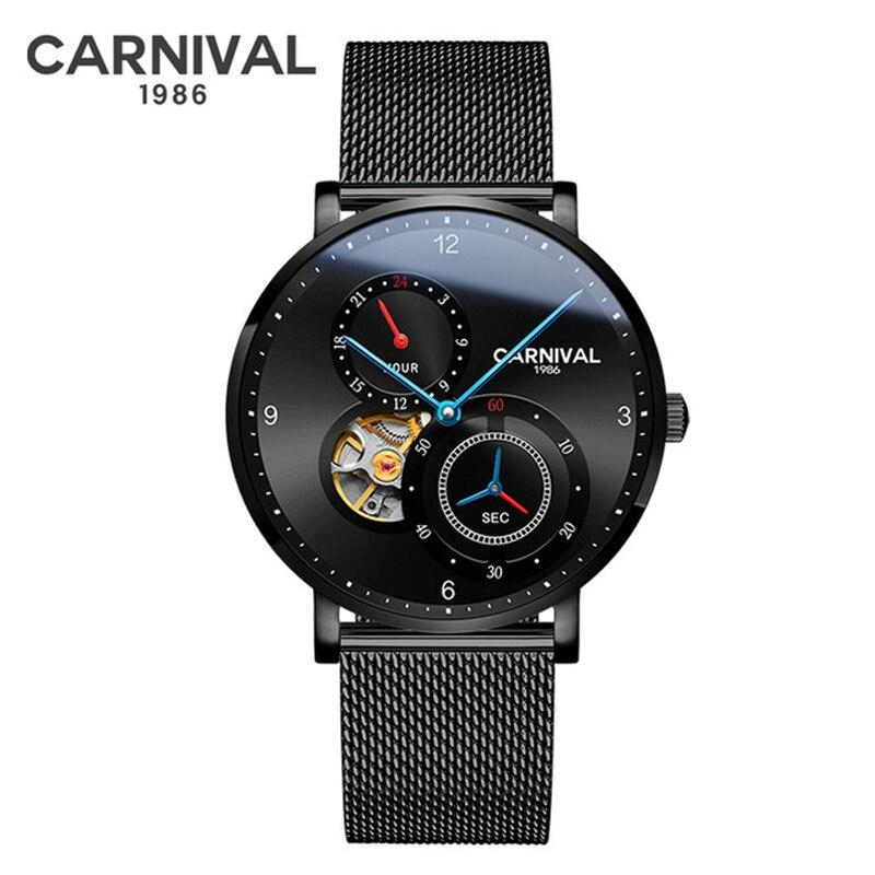 Carnival Brand Fashion British Style Watch Man Waterproof Luxury Casual Hollow Automatic Mechanical Wristwatch Relogio Masculino