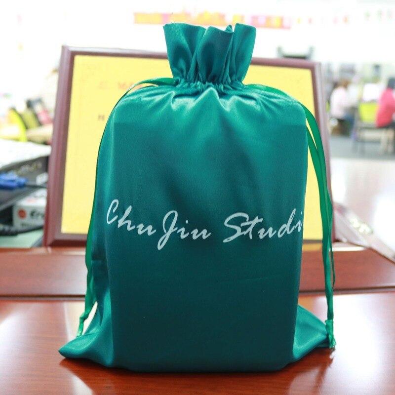 Logo personnalisé Satin cordon sac demballage vierge cheveux maison stockage produit électronique emballage sac vert 50 pcs/lot
