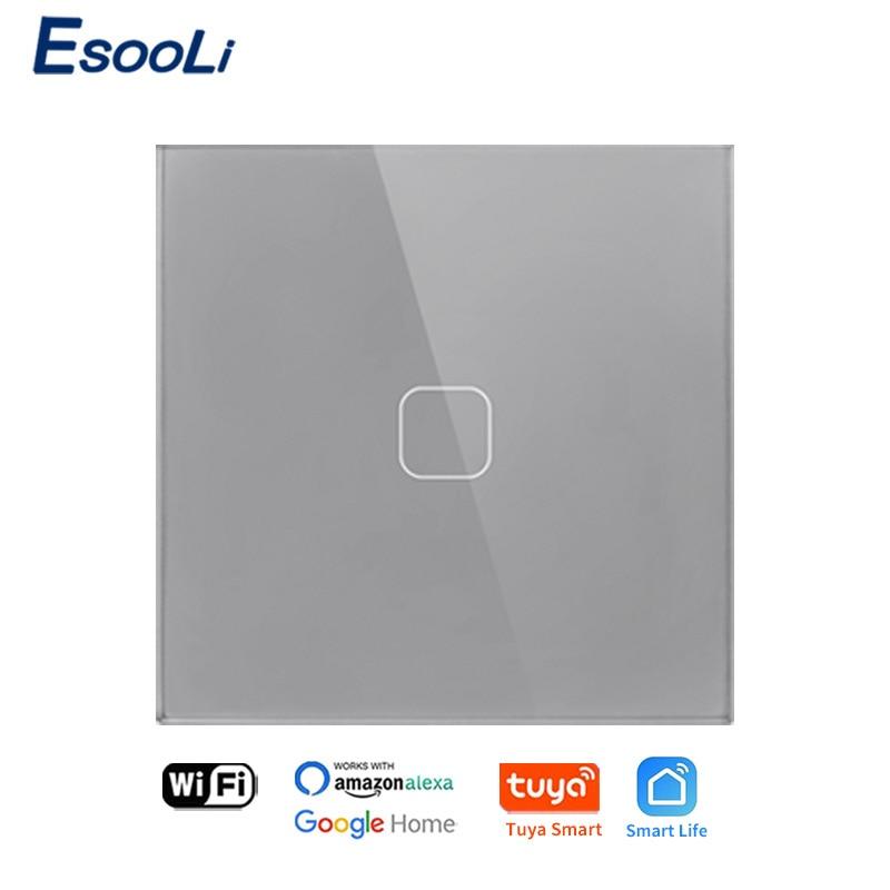 EsooLi Tuya Smart Life Glass PanelEU/UK Standard Touch Switch Zero/Single Fire Line Voice Control Light Wireless Wall Switch