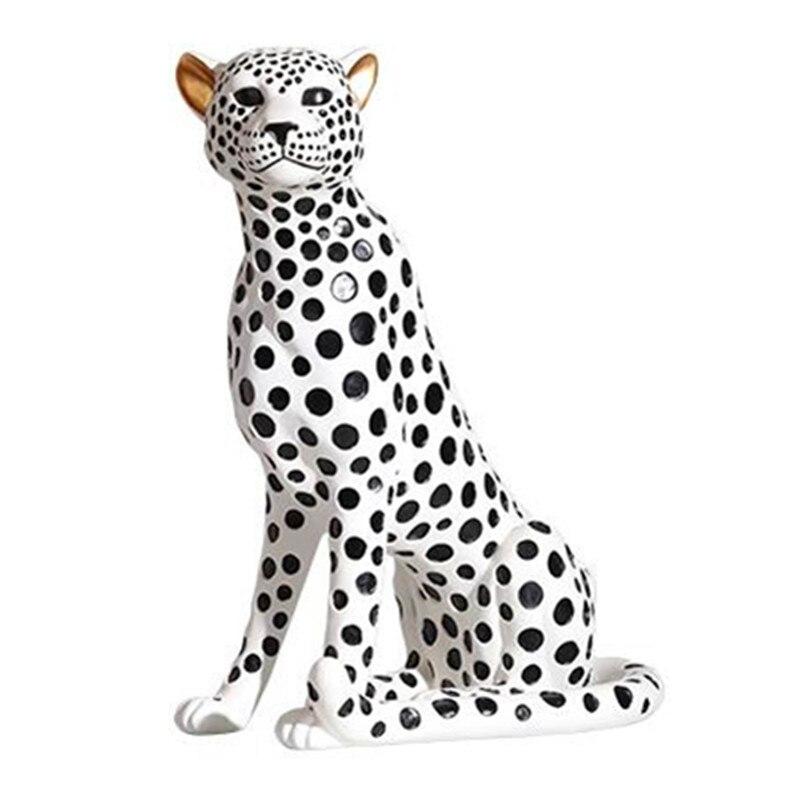 Yayoi Kusama Welle Punkt Simulation Cheetah Harz Kunst & Handwerk Leopard Statue Kreative Große-skala Tier Home Dekorationen