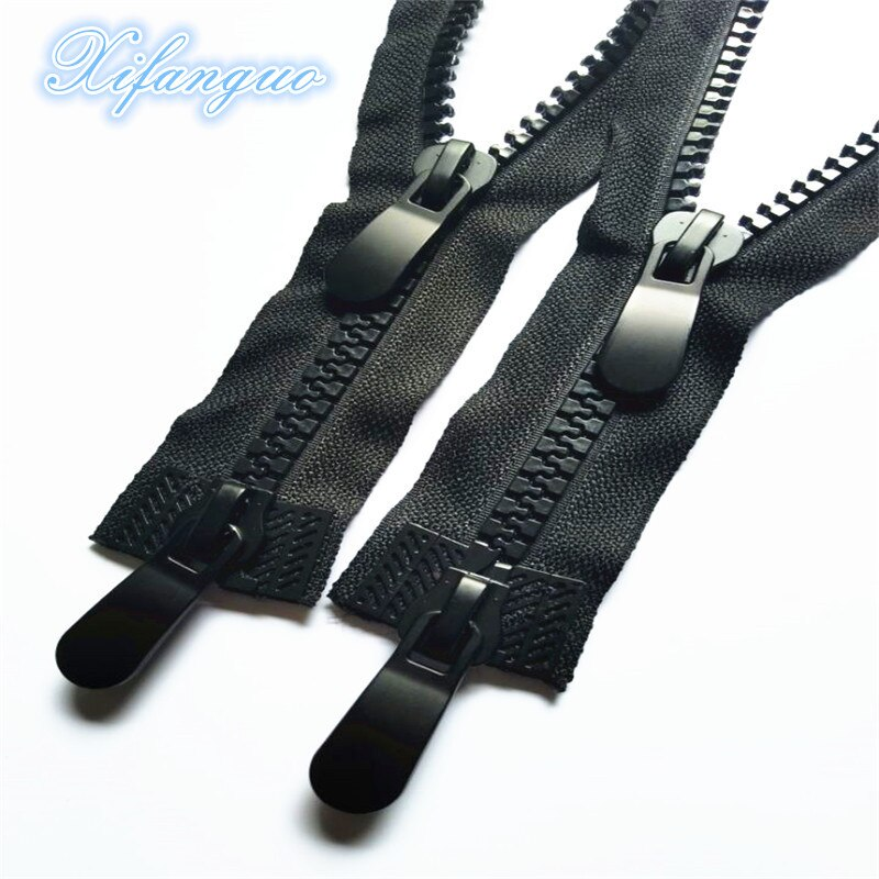 5pcs10 #60cm-120cm cremalleras de resina de doble cabeza, doble deslizador, tirador individual, cerradura automática de extremo abierto, cremallera larga para chaqueta