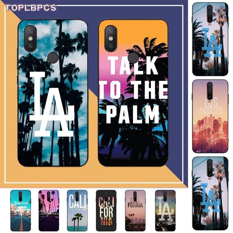 TOPLBPCS de viaje de Los Ángeles, California de silicona teléfono negro para RedMi note 9 4 5 5 5 6 6 7 5a 8 9 pro max 4X 5A 8T