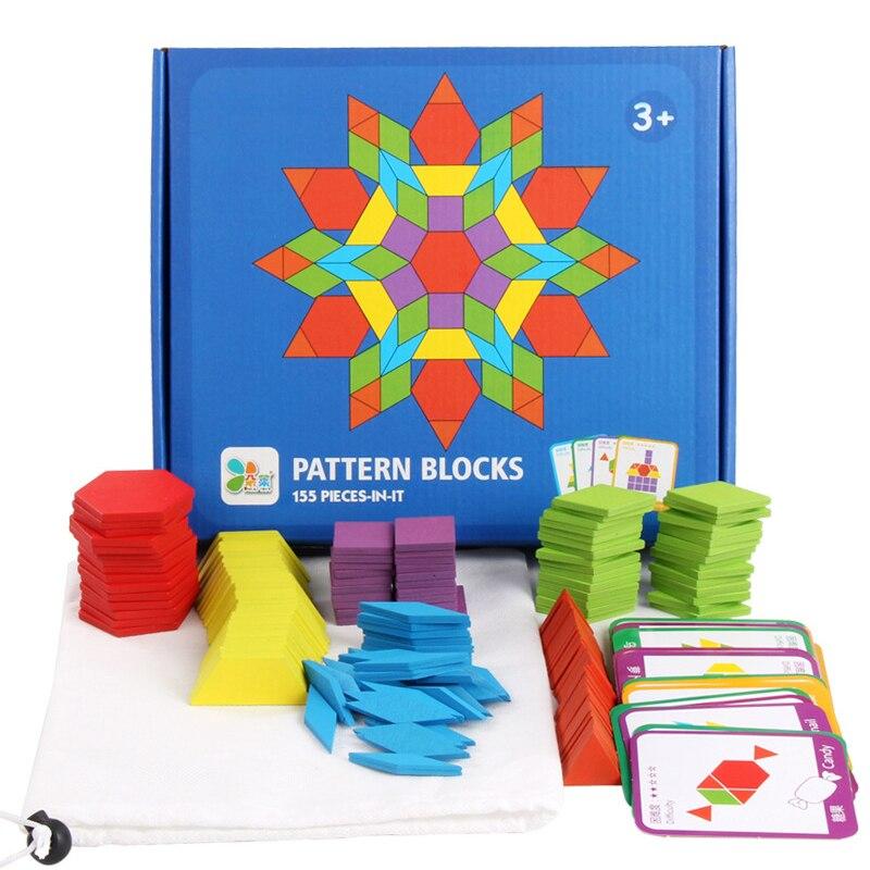 Лидер продаж, 155 шт., деревянные головоломки, доска, набор, красочные детские развивающие игрушки Монтессори для детей, развивающая игрушка д...