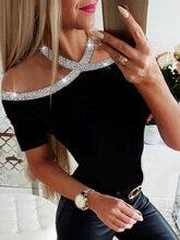 2020 Summer Women Elegant Basic Casual Top Female Lace-up Leisure Shirt Rhinestone Details Halter Short Sleeve Blouse
