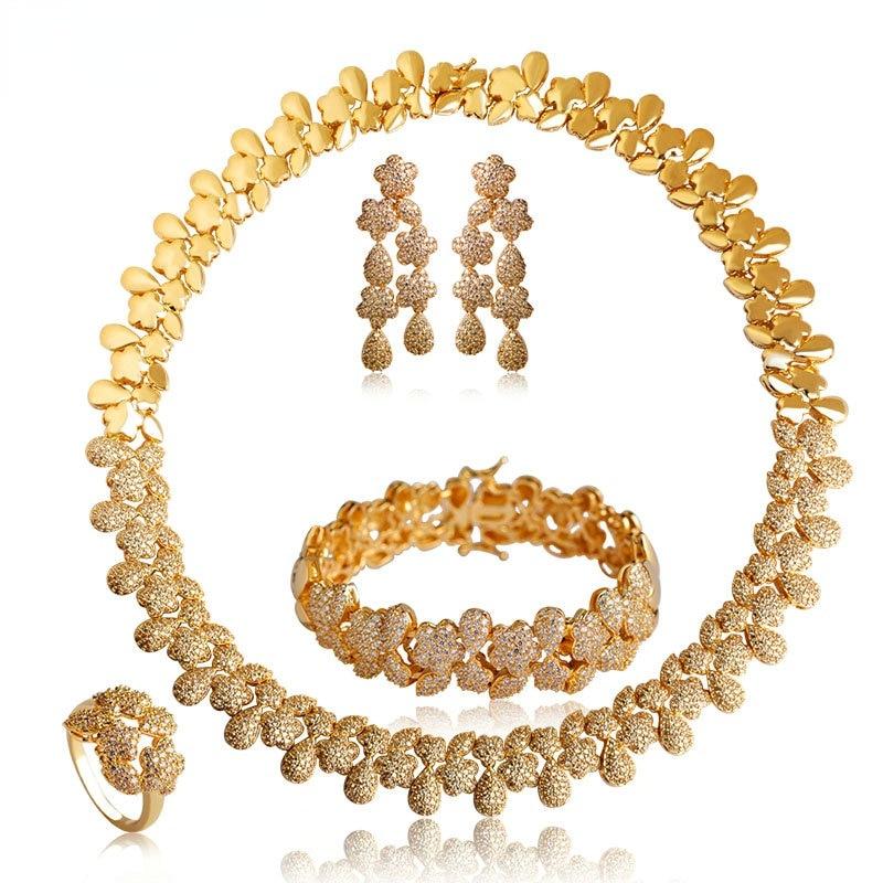Blucome Luxury Gold Color Flower Necklace Earrings Ring Bracelet Wedding Sets For Women Bridals Choker Brincos Pulseira Schmuck