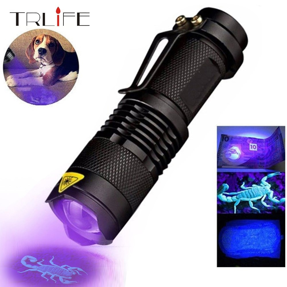 UV Flashlight 365nm/395nm Ultra Violet Light  Zoomable UV light Torch Lamp For Marker Checker Detection Using  AA/14500 battery