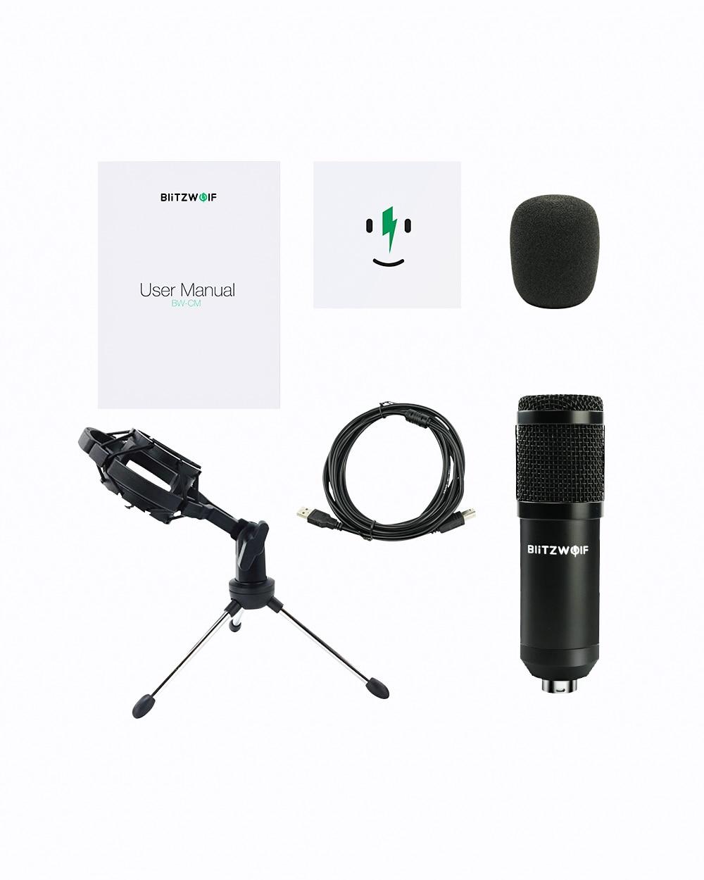 BlitzWolf BW-CM USB 48KHZ/24Bit Condenser Recording Microphone For Laptop Windows Cardioid Studio Recording Vocals Voice Over enlarge
