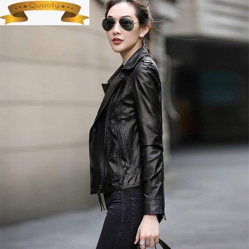 ل سترة جلدية حقيقية الإناث الغنم سترات من الجلد قصيرة ضئيلة دراجة نارية حجم كبير ملابس الشارع الشهير OT1903 MF193
