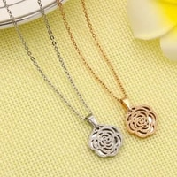 simple titanium steel camellia pendant necklace round matte flower stainless steel charm necklace for women
