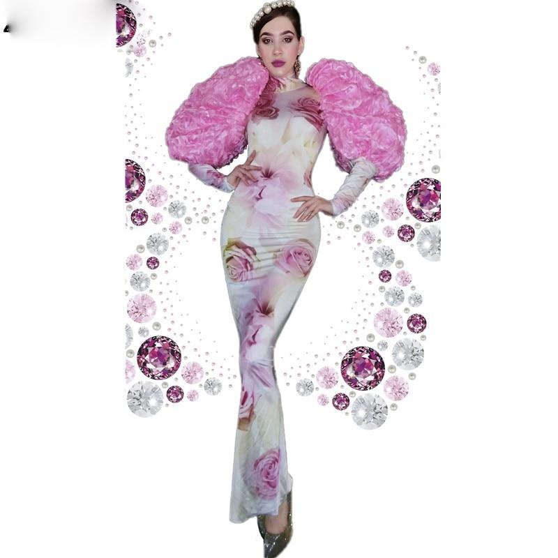 فستان طويل سبانديكس ، وردي ، زهرة ، ملابس مسرح ، حفلة موسيقية ، فستان عرض نسائي