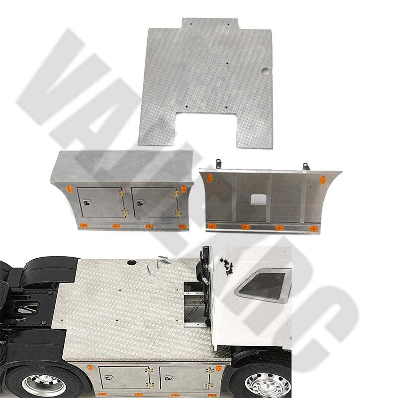 Placa de Metal falda lateral conjunto de herramientas con iluminación para Tamiya 1/14 escala TAMIYA Control remoto Volvo FH16 Globetrotter 750 56360