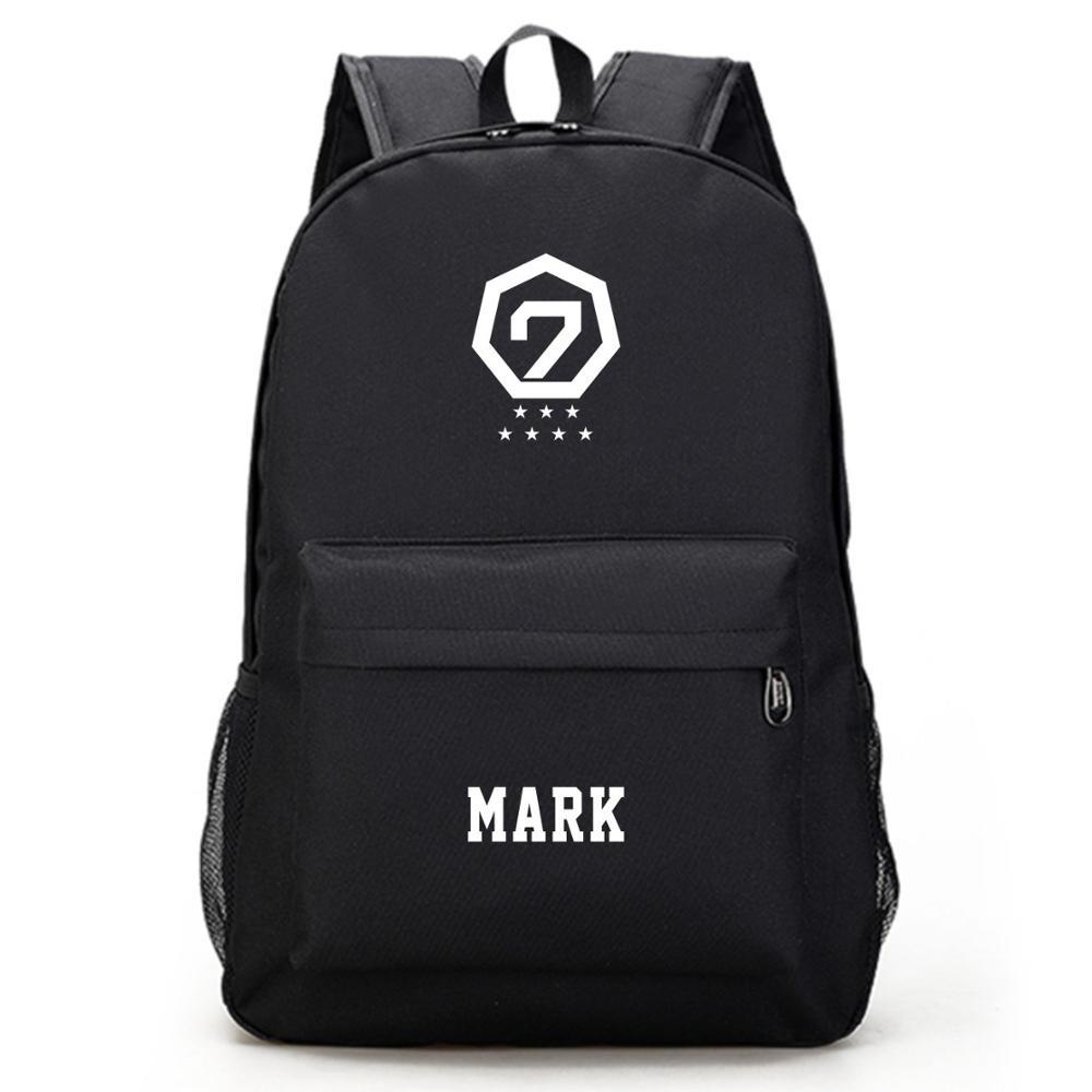 Mainlead Kpop GOT7 BAMBAM علامة جاكسون حقيبة المدرسة الأسود حقيبة قماش قنب YUGYEOM