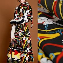 136CM 16MM Chains Print Stretch Black Silk Crepe De Chine Fabric for Summer Dress Blouse Skirt Shirt Pants E1280