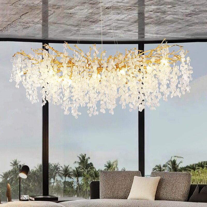 الشمال LED أضواء الثريا لغرفة الطعام الديكور ، الفاخرة المنزل داخلي الثريات مصباح غرفة المعيشة تركيبات الإضاءة