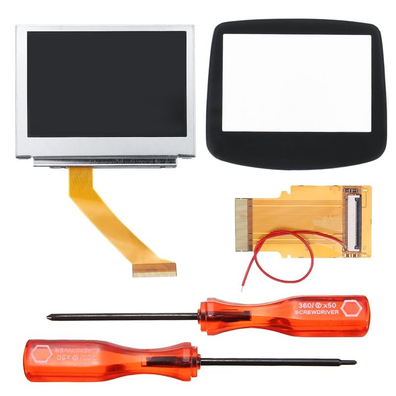 1 Juego de Kit de retroiluminación LCD MOD para GBA SP AGS-101 pantalla retroiluminada pantalla de visualización con Cable de cinta de 32/40 pines cubierta de pantalla de vidrio