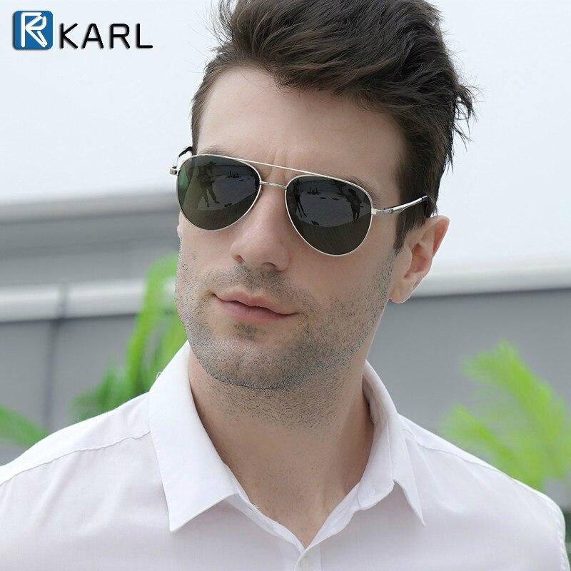 2020 nuevos hombres de piloto de gafas de sol polarizadas de lujo, diseñador de marca, gafas de sol de conducción de Metal Vintage Marco de gafas para hombre negro