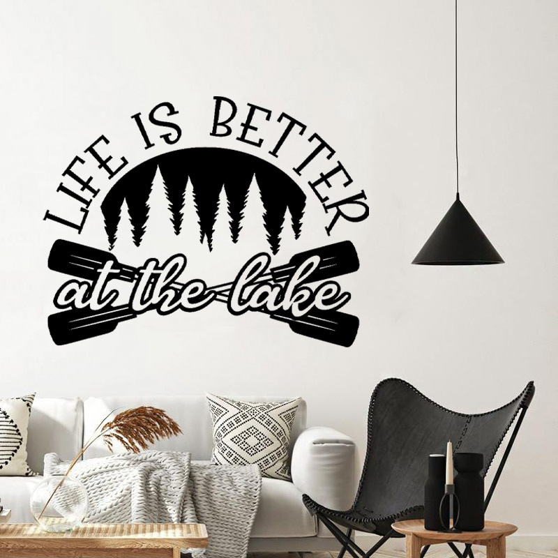 Life is Better at the Lake Quote Wall Decals Lake House Decoration , Lake Sign Saying Vinyl Wall Art Sticker Lake Cabin Decor