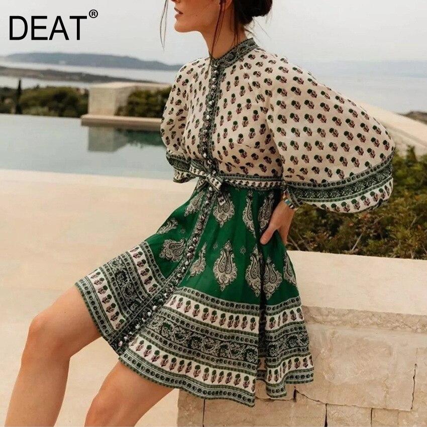DEAT 2020 nueva moda de verano ropa de mujer cuello redondo vintage vacaciones mangas de linterna vestidos estampados de flores de lino WG84206L