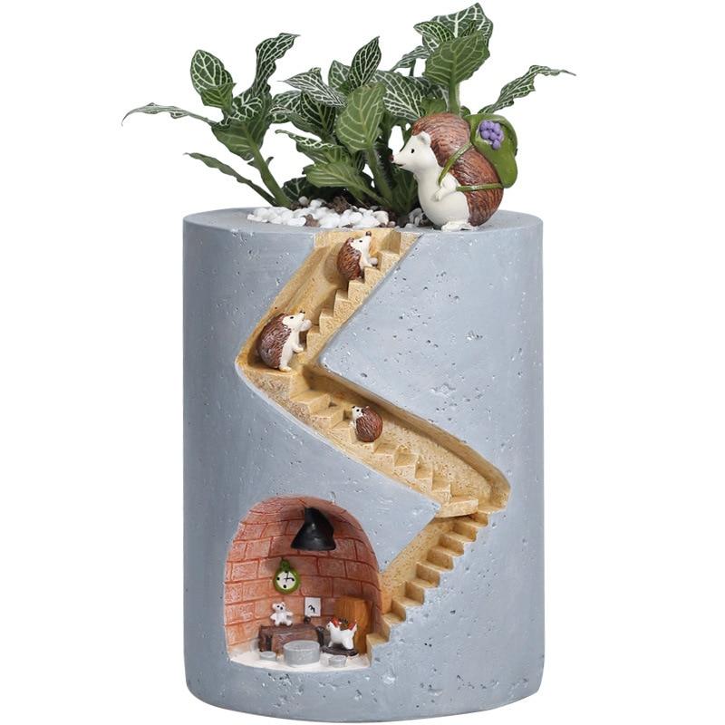 Cute Small Animal Hedgehog Family Figurine Resin Flowerpot Creative Flower Planter Pot for Garden Home Room Decoration