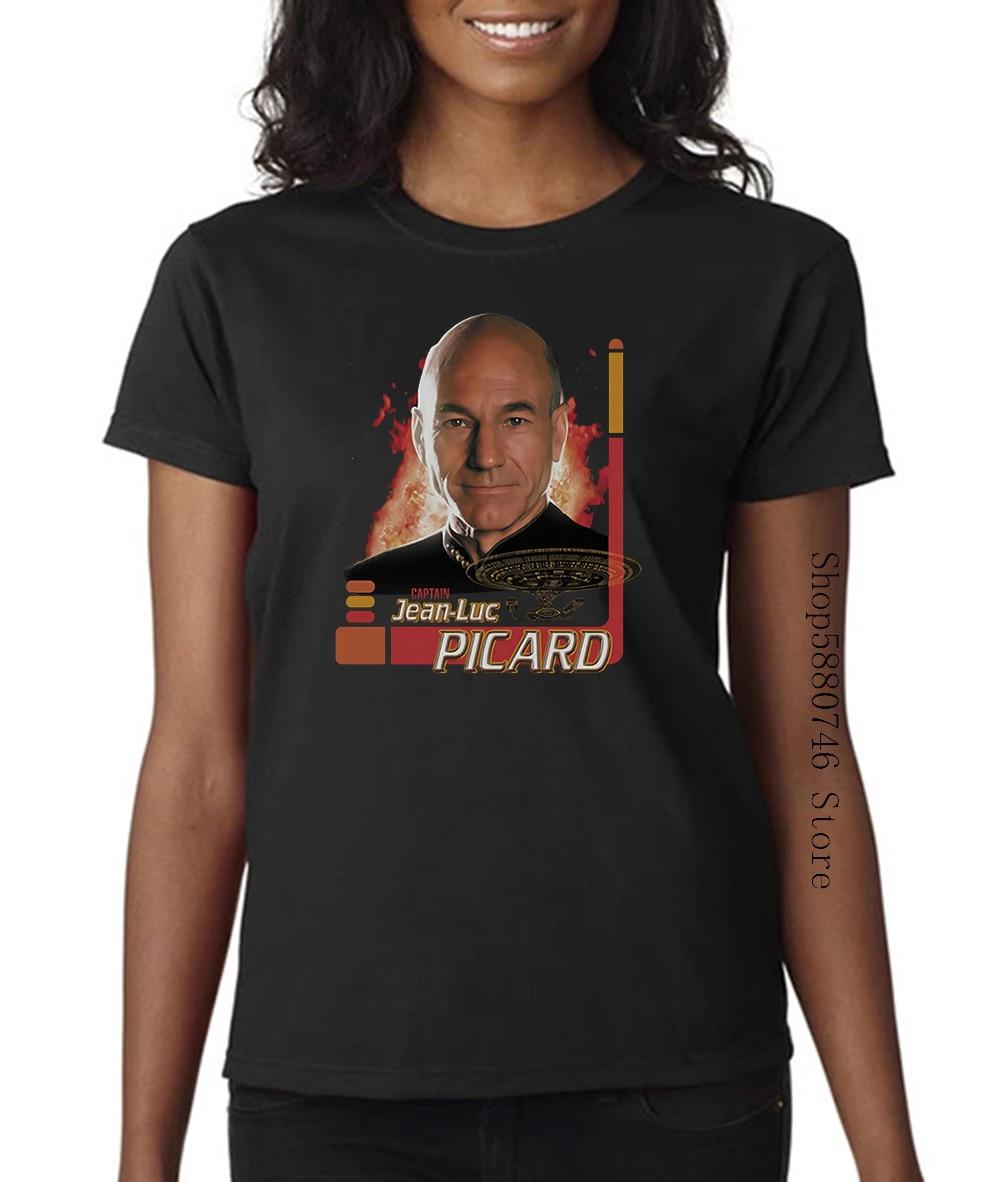 Camiseta de Star-Trek de la próxima generación Capitán Picard con licencia para adultos
