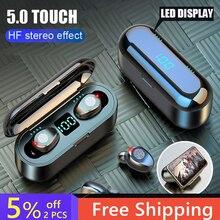 KUGE sans fil V5.0 Bluetooth écouteur HD stéréo casque sport étanche casque avec double micro et 2000mAh batterie Charge Cas