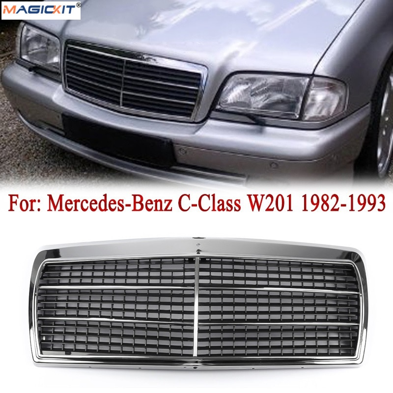 Parrilla MagicKit para mercedes-benz Clase C W201 190E 190D cromado parachoques delantero centro Hood Sport Grille Grill 5R 1984-1993