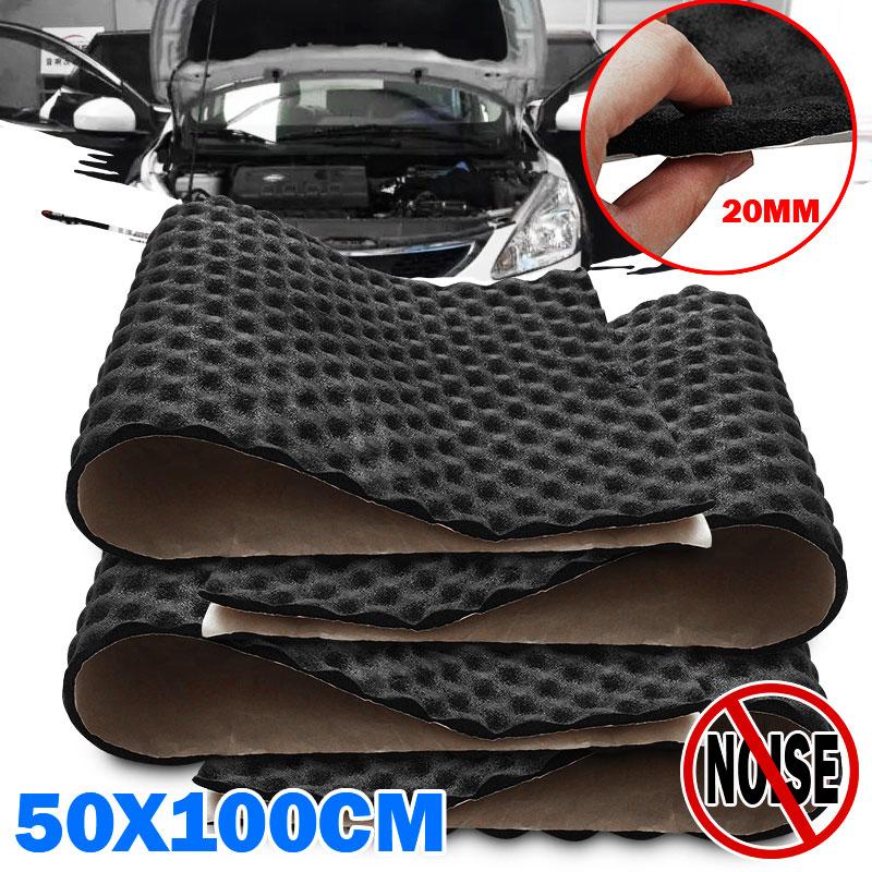 3X 50*100cm 20mm Car Sound Hot Deadener Mat Noise Proof Bonnet Insulation Deadening Hood Engine Heat Foam Cotton Sticker