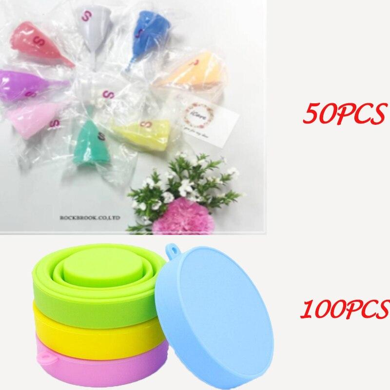 VIP link-كوب حيض iCare ، يتضمن كوب تطهير ، 50 قطعة ، 100 قطعة