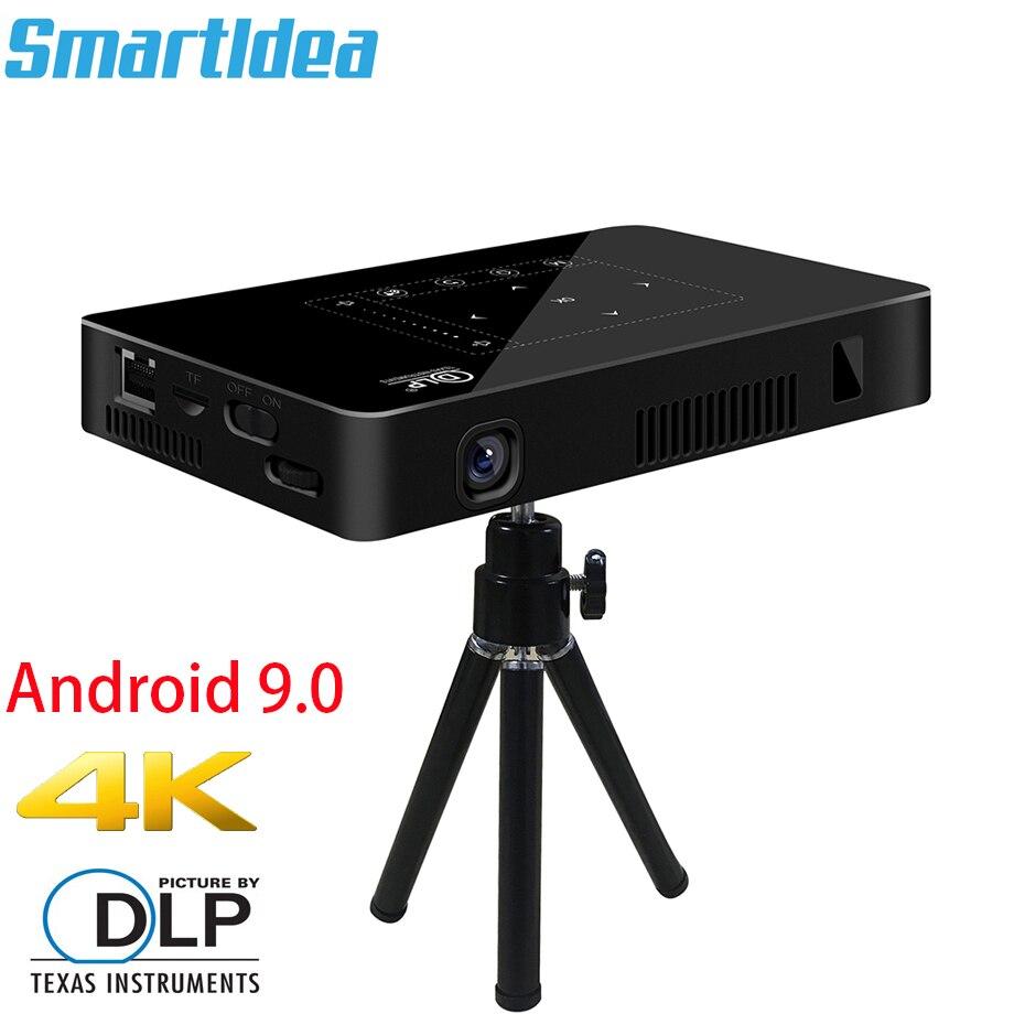 Smartldea P10 البسيطة الذكية DLP العارض الروبوت 9.0 واي فاي متعاطي المخدرات بلوتوث 4K البناء في بطارية اللمس مفاتيح البث Miracast DLNA