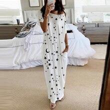 One Shoulder Star Printed Women Night Dress O neck Short Sleeve Loose Pocket Female Long Dresses 2020 Summer Ladies Homewear