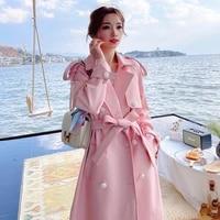 new zealand double faced leather windbreaker coat womens pink coat
