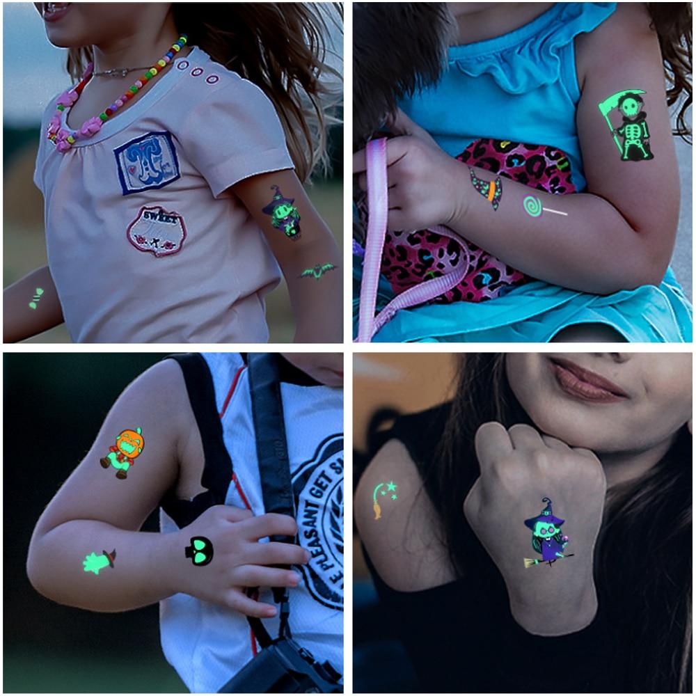 Luminous Kids Cartoon Face Tattoo Stickers Halloween Waterproof Temporary The Body Art Party