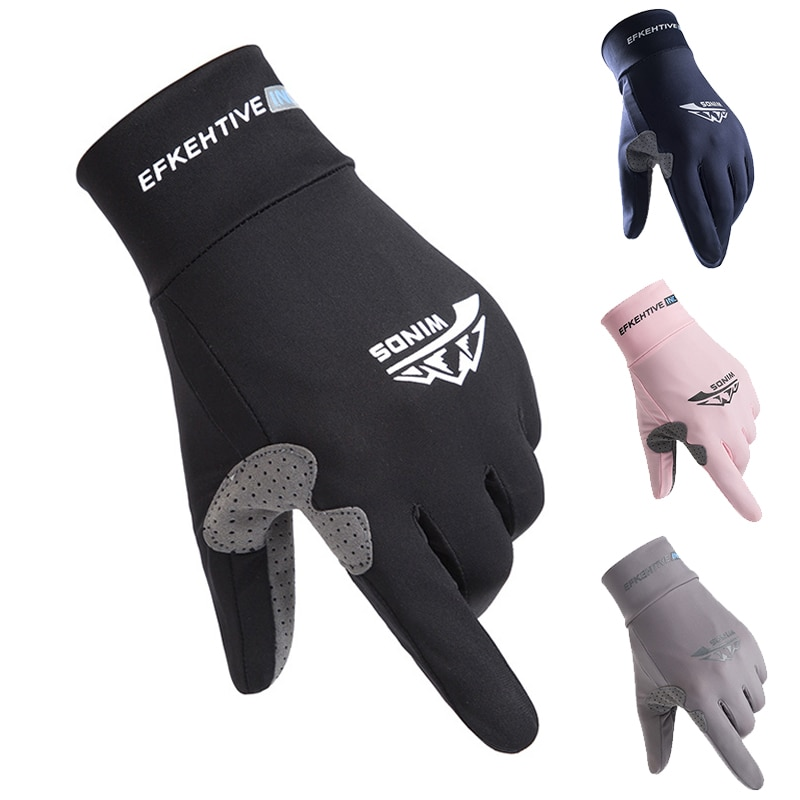 Summer Ice Silk Men Gloves Thin Light Sports Cycling Running Fitness Driving Outdoors Fishing Women Non-Slip Touch Screen Gloves