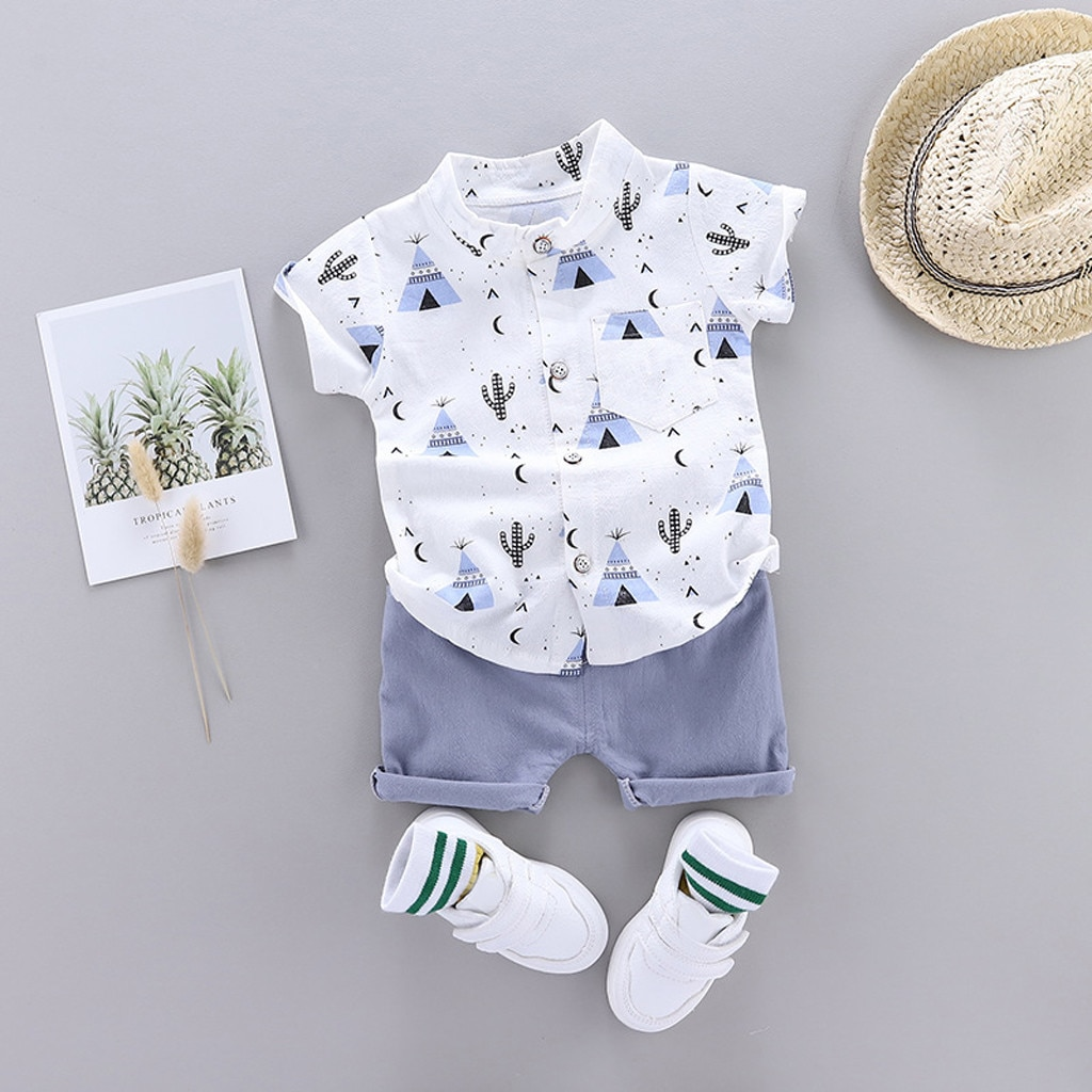 Summer Toddler Baby Boy Clothes Set Cartoon Print Tops+Shorts Outfit For Kids 1-4 Years Casual Suits