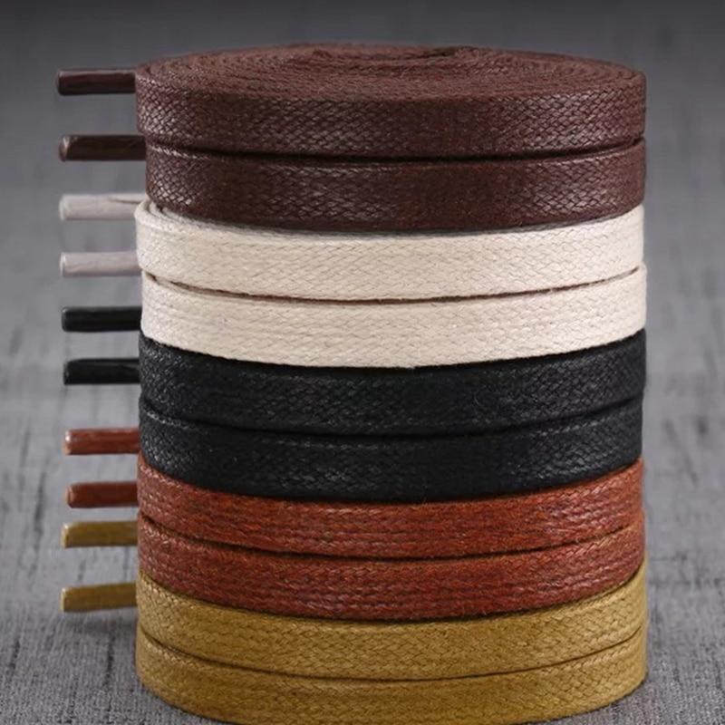 1 Pair Waxed Shoelaces Leather Waterproof Flat Shoe Laces Unisex Boots Shoelace Length 60 80 100 120