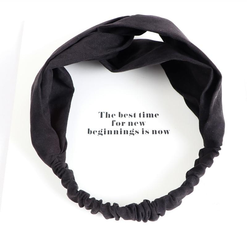 Women's Solid Color Elasticity Headband Headwear Girl Sports Hair Band Face Wash Turban Comfortable Cross Hair Accessories Black