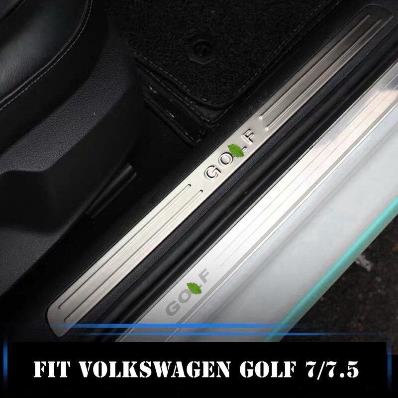 Acero inoxidable Interior raspado placa umbral Interior tira bienvenida pedal para Volkswagen Golf 7 VII Golf7 MK7 Golf7.5