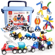 19-56pcs 3D Magnetic Designer Baby Toys Magnet Bars Metal Balls Pipe Building Blocks DIY Construction Car Model Toys for Boys