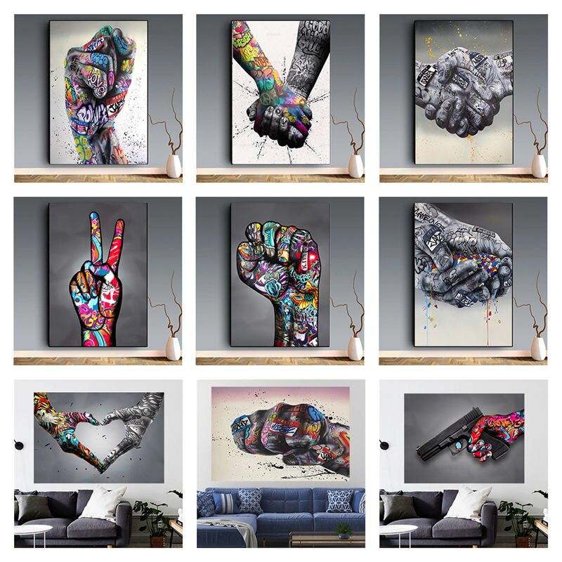 Художественная Картина на холсте с изображением граффити викторий и воодушевляющих жестов и губ, художественные плакаты, художественная к...