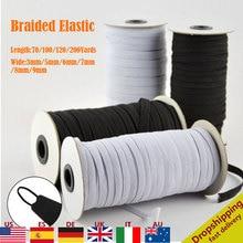 Bandes élastiques en Polyester   Blanc et noir, 3/6/5/8mm, accessoires de couture pour vêtements