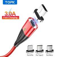 Магнитный зарядный USB-кабель TOPK, Micro USB/Type C/8 pin, 1/2 м