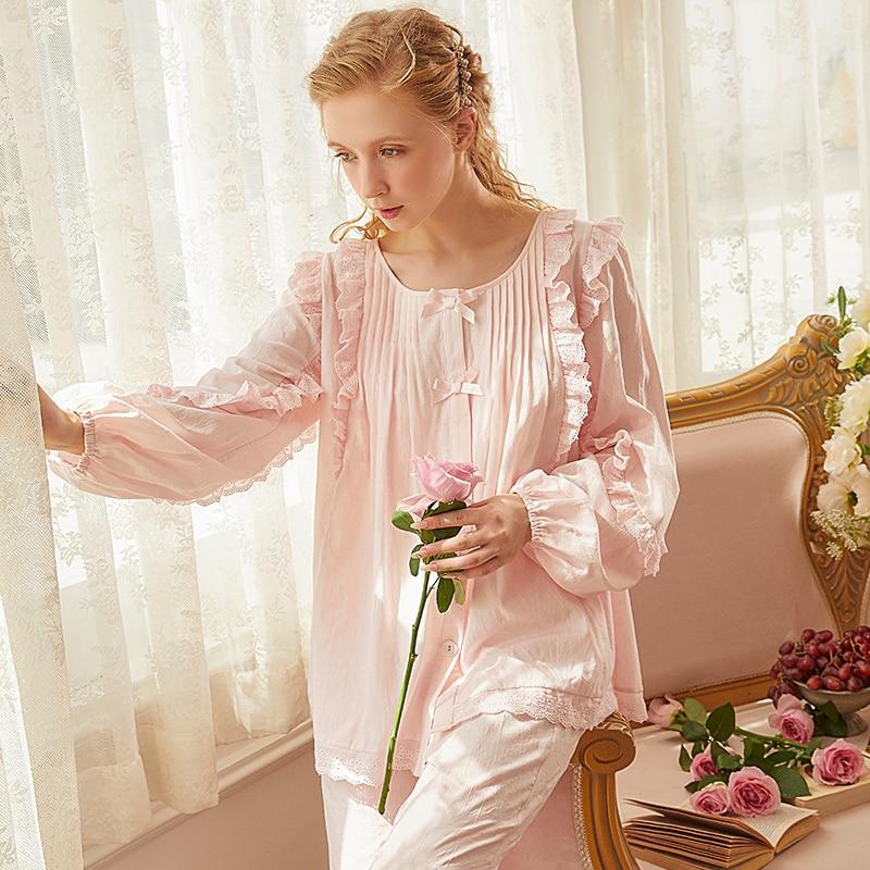 بيجاما قطنية للنساء ، ملابس نوم ، وردي وأبيض ، مريح ، خريف