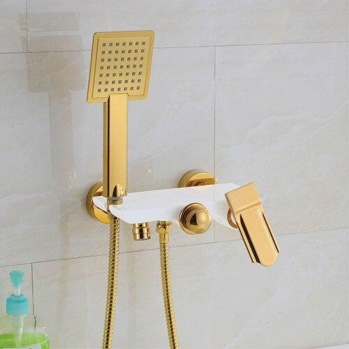 Grifo de bañera Simple tipo cascada, grifo de bañera totalmente de cobre, ducha de tipo suelo, cabezal de ducha caliente y fría, Baño